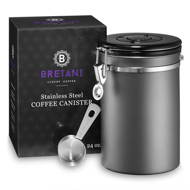 24 Oz Stainless Steel Coffee Canister, Coffee Storage Containers
