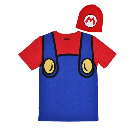 Men's Super Mario Costume Halloween T-Shirt w/ Beanie 2-Piece Set Size - Beanie Baby Dog Halloween Costume