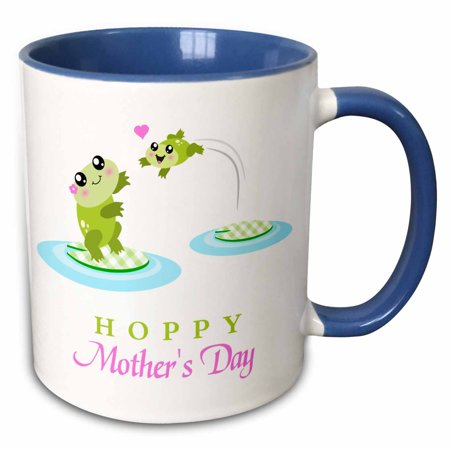 - 3dRose Hoppy Happy Mothers Day - fun and cute mom and baby frog - kawaii mother and child green frogs love - Two Tone Blue Mug, 11-ounce