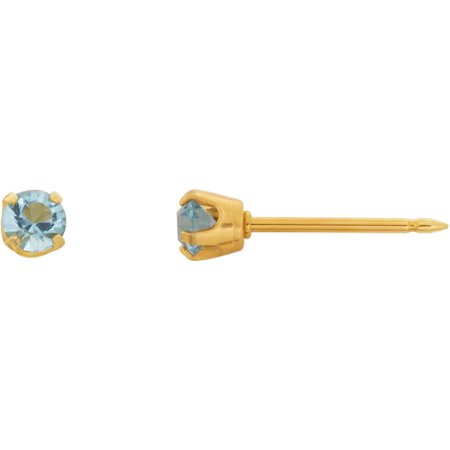 Home Ear Piercing Kit with 14kt Yellow Gold 3mm March Birthstone (Aquamarine Square Earring)