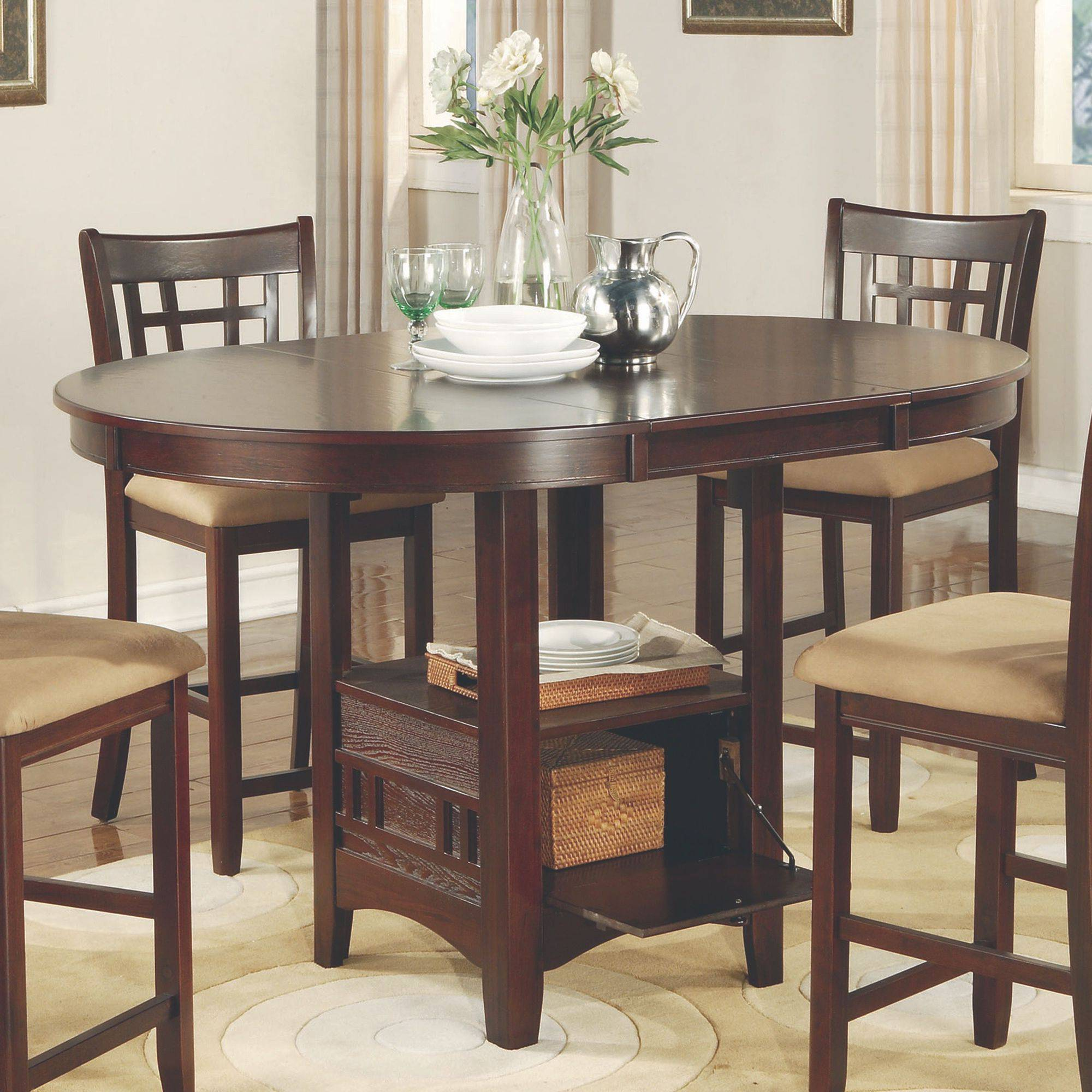 Captivating Homelegance Broome 7 Piece Counter Height Expandable Storage Dining Table  Set   Dark Brown   Walmart.com
