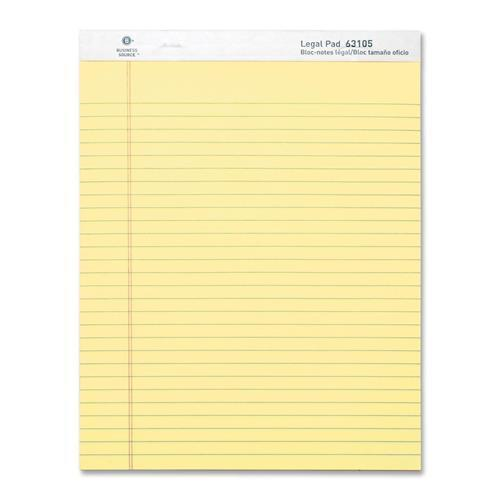 "Business Source Micro-Perforated Legal Ruled Pads - 50 Sheets - Printed - 0.34"" Front Line(s) Space - 16 lb Basis Weight - 8.50"" x 11.75"" - Canary Paper - Micro Perforated, Easy Tear, Sturdy Back - 1D"