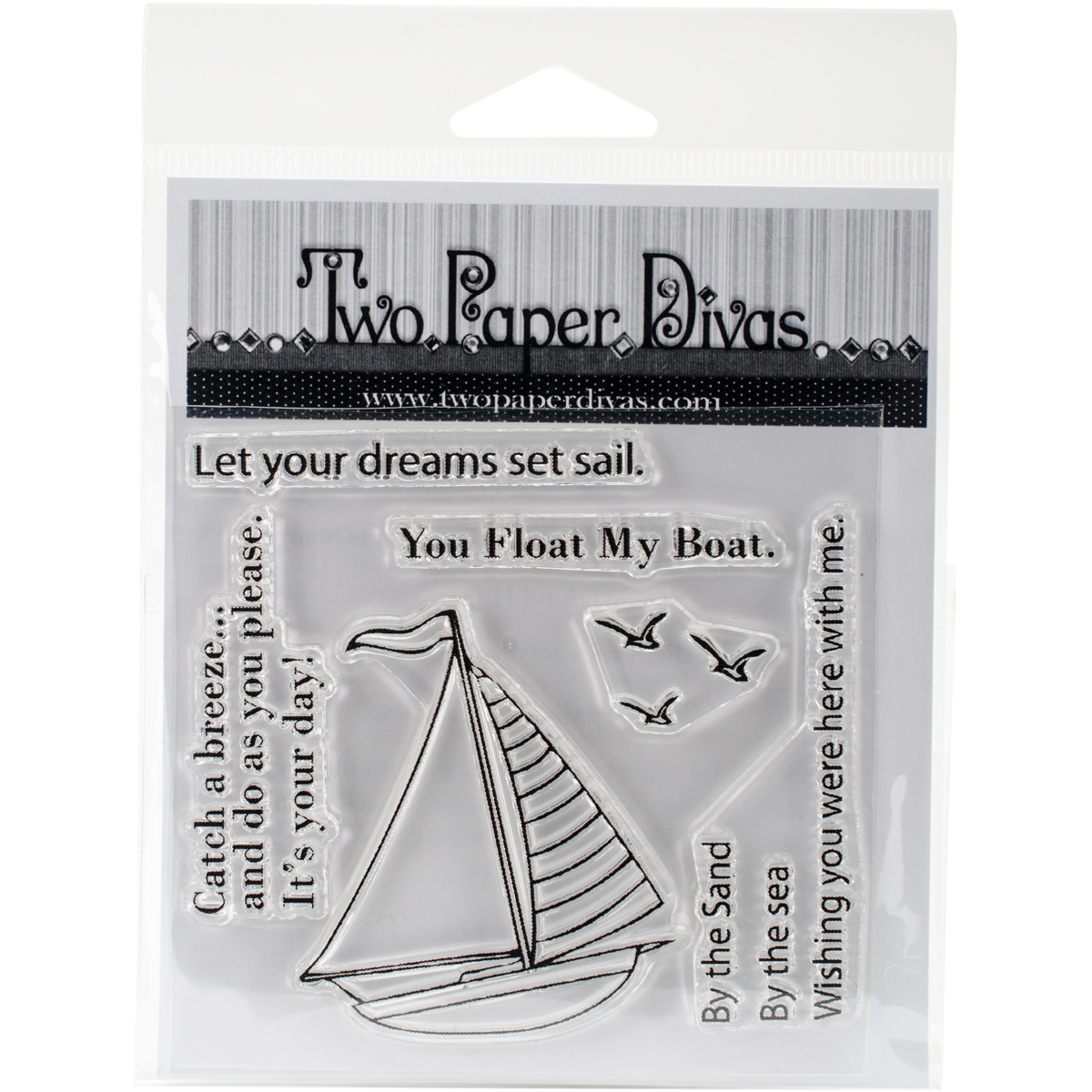 Two Paper Divas Clear Stamps 6.5 Inch X 4.5 Inch-Sail Away