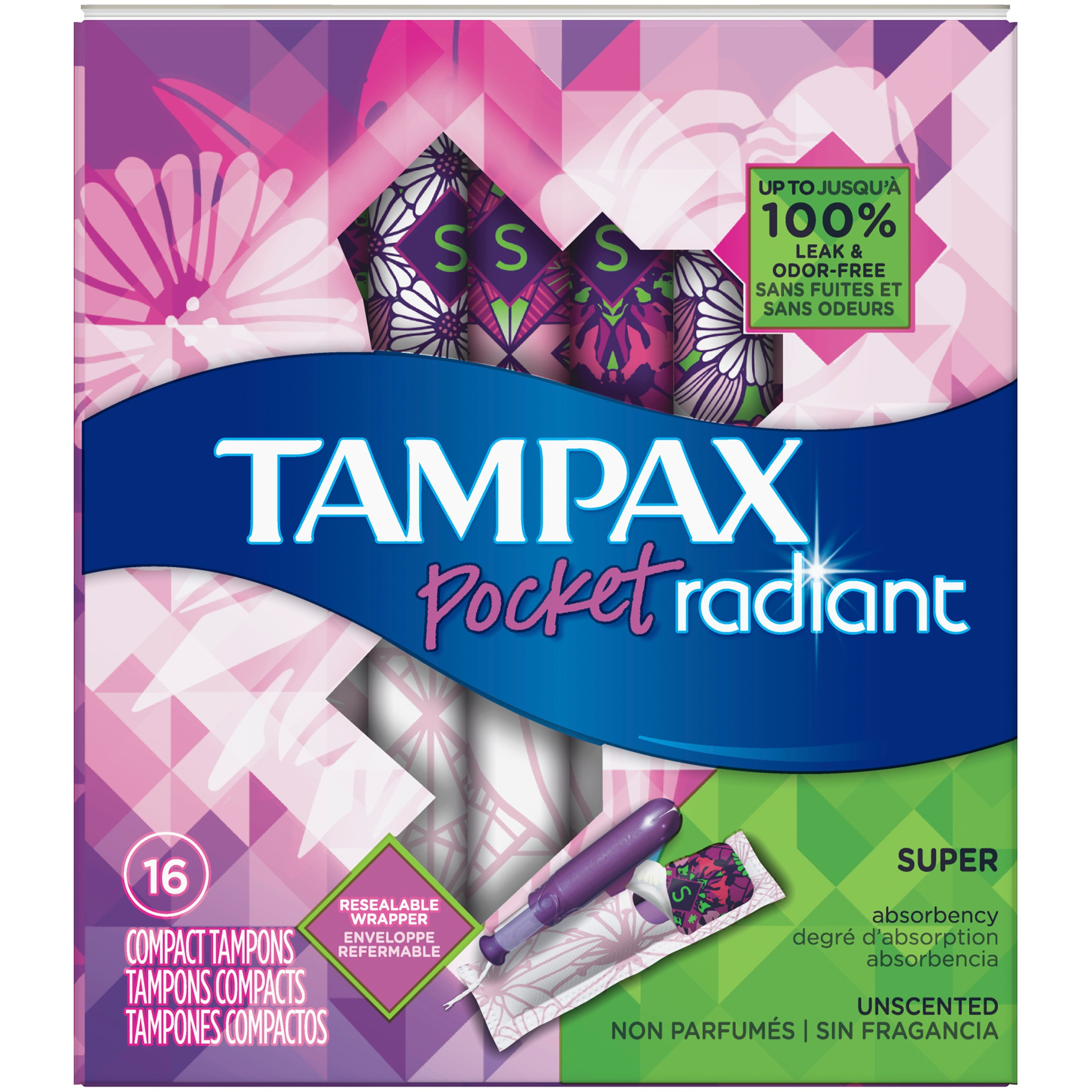 Tampax Pocket Radiant Super Unscented Compact Tampons 16 ct