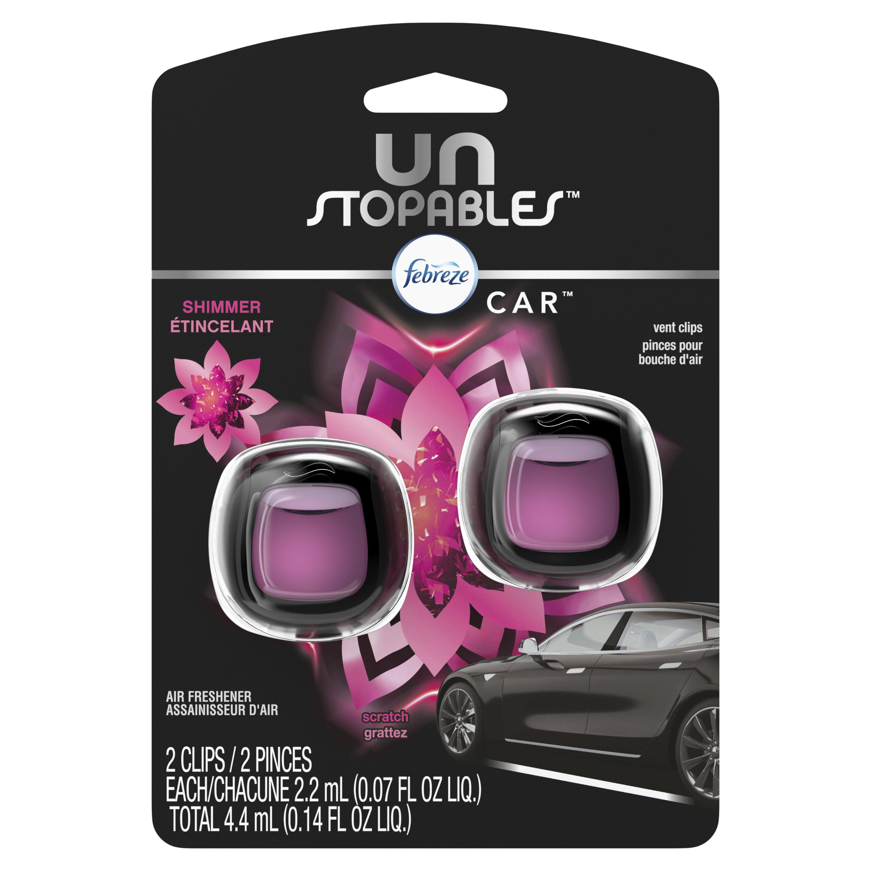 Febreze Car Unstopables Air Freshener Vent Clip, Shimmer, 2 count