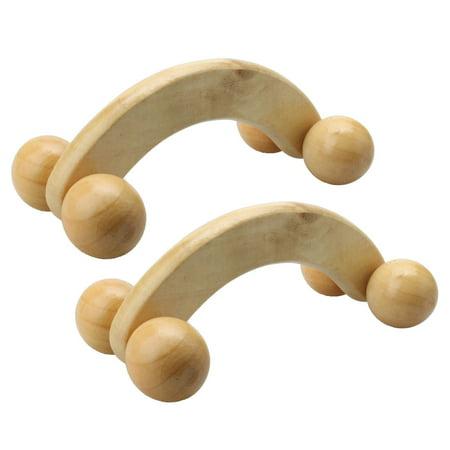 Wooden Massage - Unique Bargains 2pcs 4 Wheels Wooden Handheld Massage Roller Body Mucsle Massager