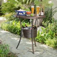 Taloom PE Wicker Table with Ice Pail, Multi Brown