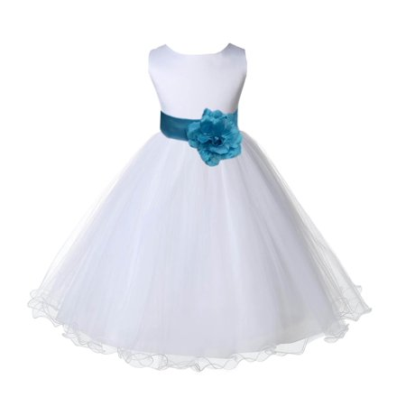 Ekidsbridal Wedding Pageant White Flower Girl Dress Tulle Rattail Edge Toddler Junior Bridesmaid Recital Easter Dress Holiday First Communion Birthday Baptism Dress Turquoise Blue 829S Size  - Turquoise Dresses For Girls