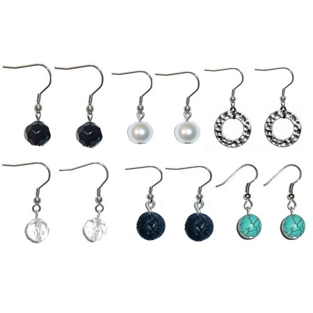 Assorted Beaded Dangle Earrings, Surgical Stainless Steel French wire Women's Sets of beaded earrings in Gift