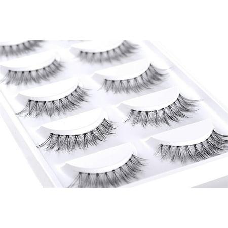 False Eyelash Kit with Clamp, 10 Lashes Fake Eyelashes, Soft Flexible False Eyelashes, Entire Eyelids for Ladies Women Natural Look (5 Pairs / Box) - image 5 of 8