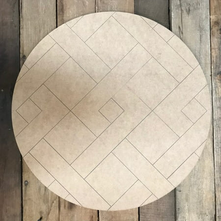"""12"""" Stitched Circle Quilt, Wooden Paintable, Paint by Line"""