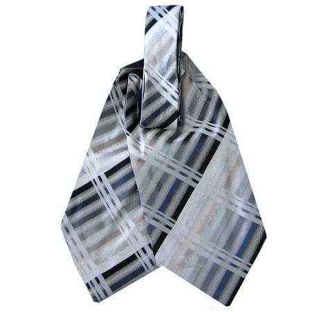 BuyYourTies - Gray - Taupe Mens Silk Ascot