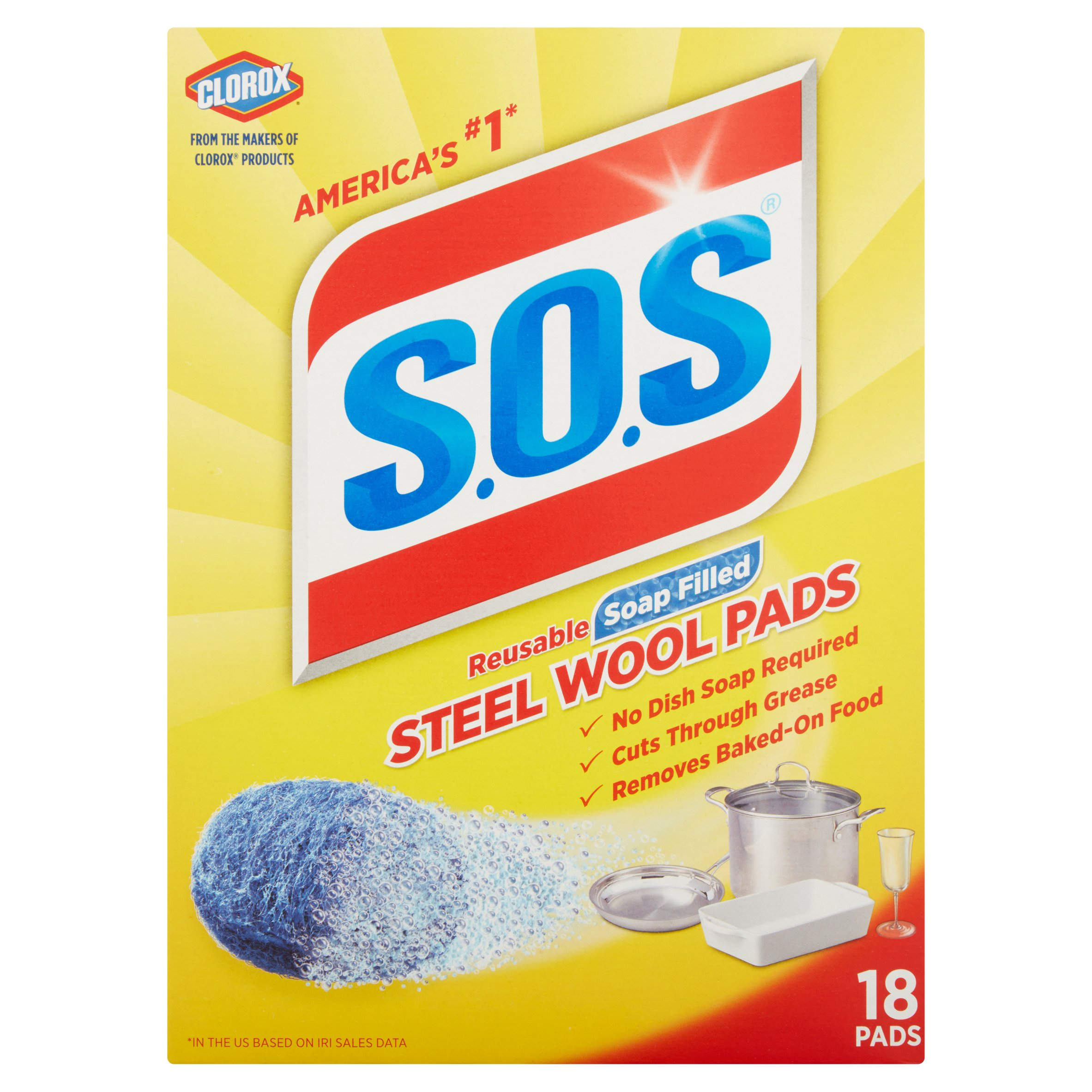 Clorox S.O.S Reusable Soap Filled 18 Steel Wool Pads