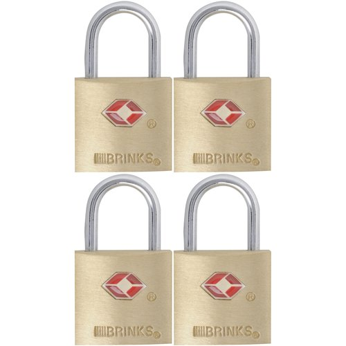Brinks 22mm Tsa Brass Padlock, 4-Pack