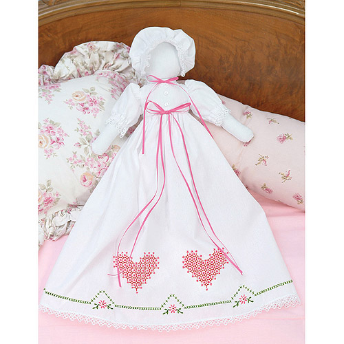 Stamped White Pillowcase Doll Kit, Chicken Scratch Hearts