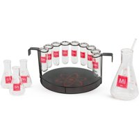 15-Piece Science Themed Novelty Shot Glass Bar Set with Chemistry Glassware and Serving Tray by Wild Eye