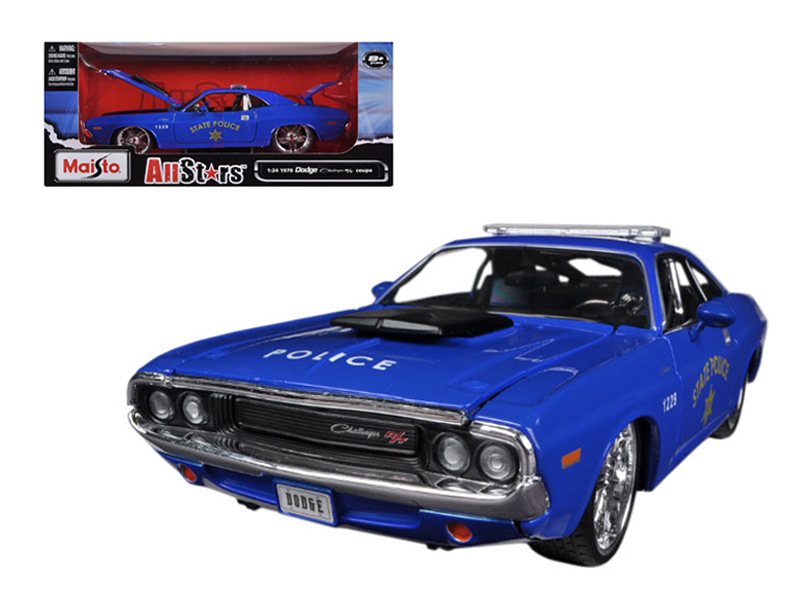 "1970 Dodge Challenger R T Coupe Police Blue All Stars"" 1 24 Diecast Model Car by... by Diecast Dropshipper"