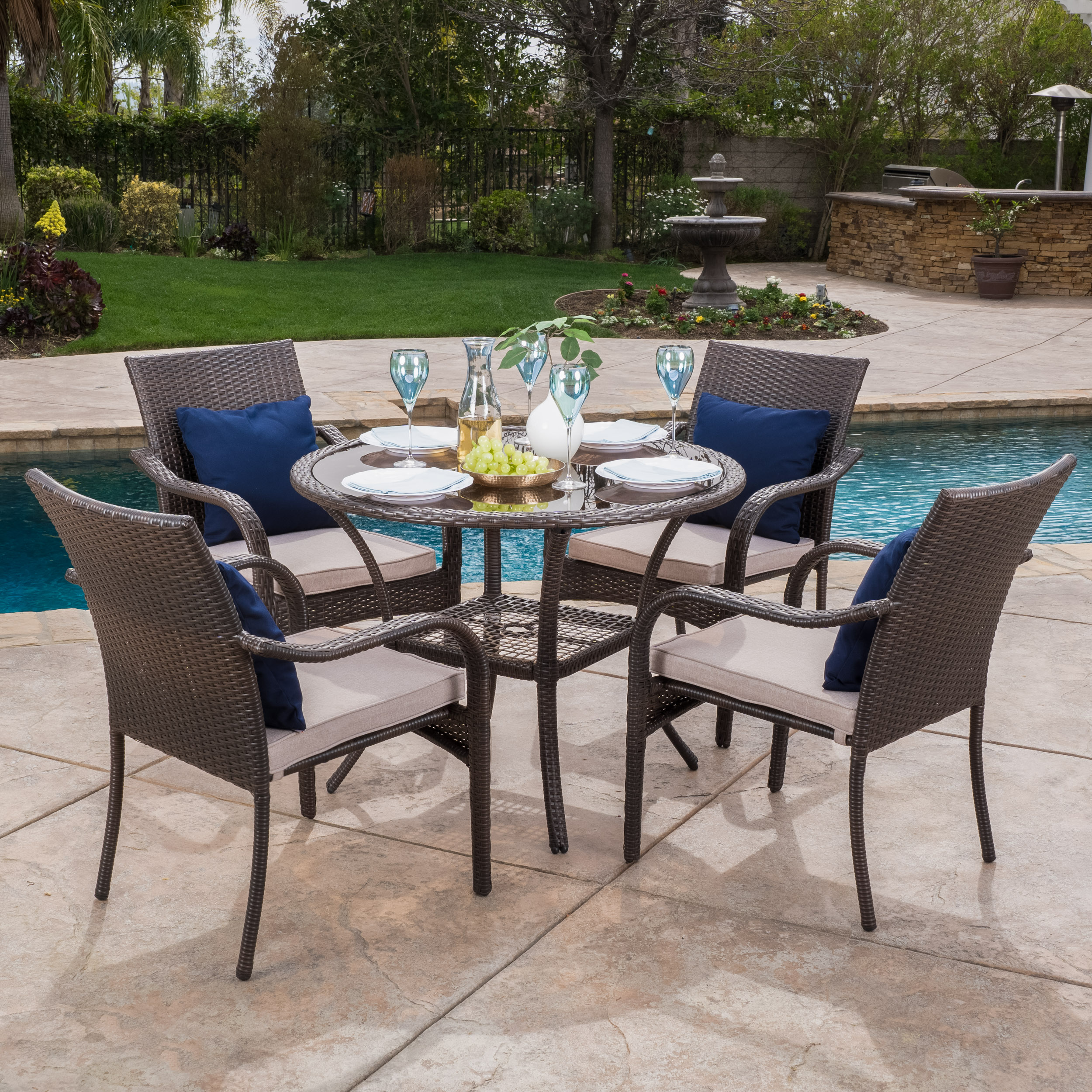 Carol 5 Piece Outdoor Dining Set, Multibrown, Beige