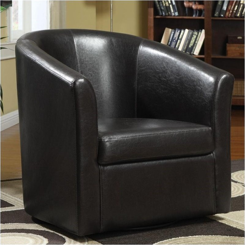 Bowery Hill Leather Club Chair in Brown