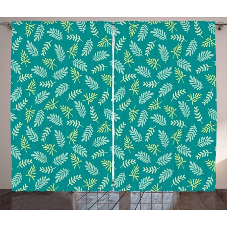 Leaves Curtains 2 Panels Set, Arrangement of Spring Foliage Cottage Nature Elements Green Shades, Window Drapes for Living Room Bedroom, 108W X 90L Inches, Teal Apple Green Pale Green, by Ambesonne