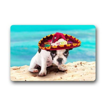 WinHome Cute Puppy Dog In Mexican Sombrero Doormat Floor Mats Rugs Outdoors/Indoor Doormat Size 30x18 inches](Dog Sombrero)