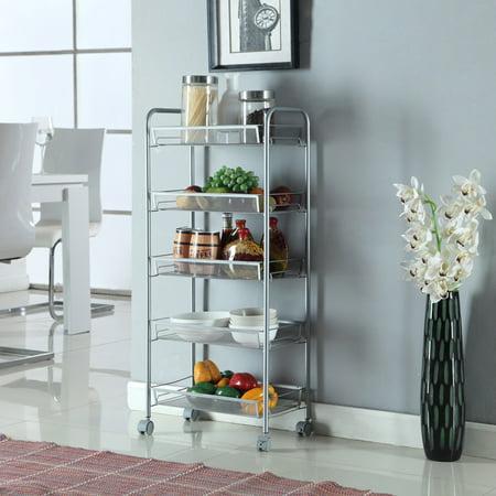5-Tier Mesh Wire Rolling Cart Storage Multi-Purpose Trolley Organizer Kitchen Pantry Bedroom Bathroom Living Room Shelving