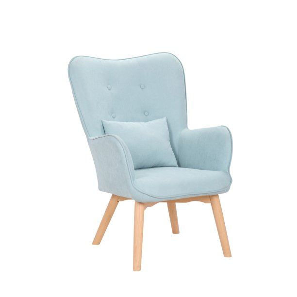 Porthos Home Panya Leisure Accent Chair With Tufted Hemp Fabric Upholstery And Solid Rubberwood Legs, Elegant Wingback Design And Ergonomic Armrests (Suitable For Home Studios And Small Offices)