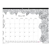 blueline 2019 monthly coloring desk pad calendar botanica january december 1775 x 10875 inches