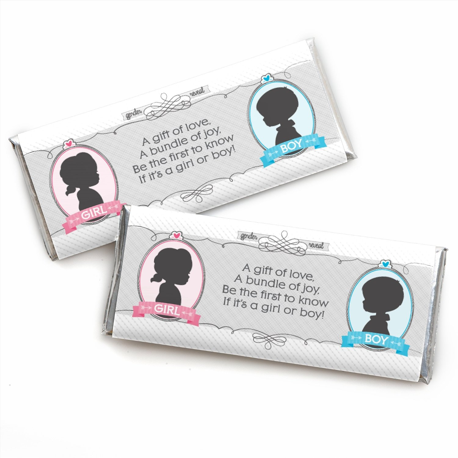 Gender Reveal - Baby Shower Candy Bar Wrappers Party Favors - Set of 24