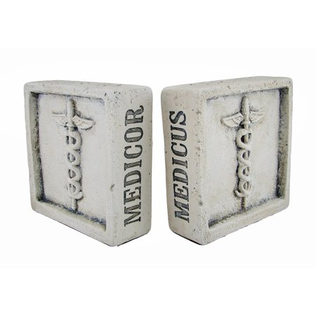 Marble Medical Caduceus Bookends - Museum White Latin Medical Terms Caduceus Symbol Cement Bookends
