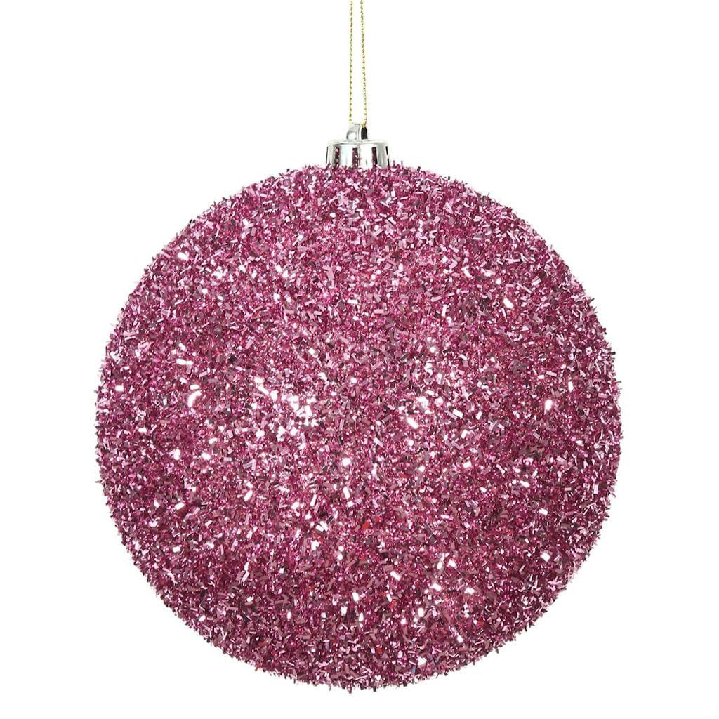 "Vickerman 511008 - 6"" Pink Tinsel Ball Christmas Christmas Tree Ornament (2 pack) (N178279)"