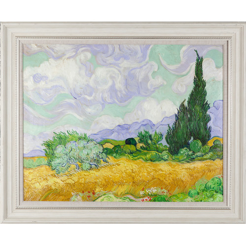 Wexford Home 'Wheat Field with Cypresses' by Vincent Van Gogh Framed Painting Print on Wrapped Canvas