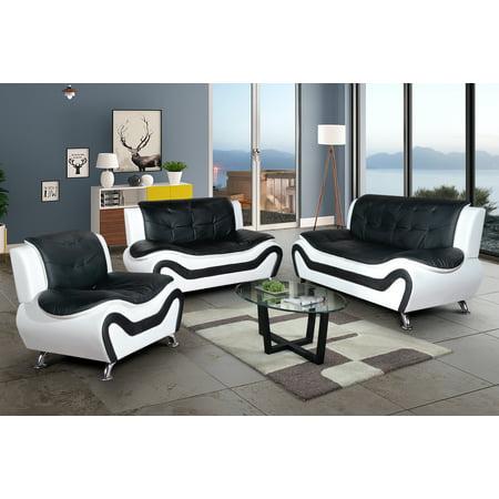 AYCP Furniture Classical 3pc Black&White Faux Leather Sectional Sofa (Pu Adjustable Sofa Set)