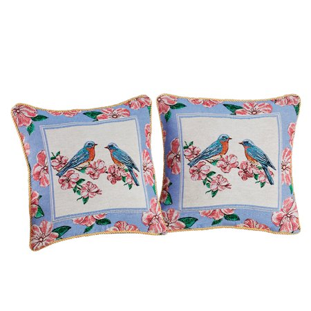 Bird and Floral Blue and Pink Tapestry Pillow Covers - Spring Decor Accent for Living (Blue Floral Spring)