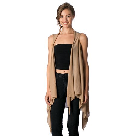 Womens Flowy Style Hi-low Hemline Vest Outerwear Top for Spring Summer