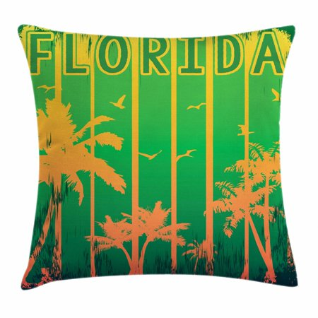 Florida Throw Pillow Cushion Cover, Coastal City in California Worn Out Composition with Beach Trees, Decorative Square Accent Pillow Case, 18 X 18 Inches, Lime Green Fern Green Orange, by Ambesonne - Ferns Long Beach
