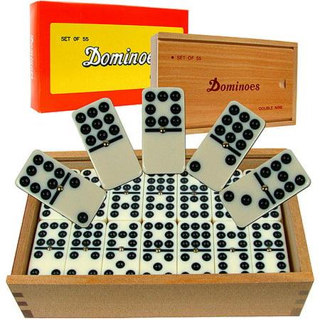 Premium Set of 55 Double Nine Dominoes in Wooden Case
