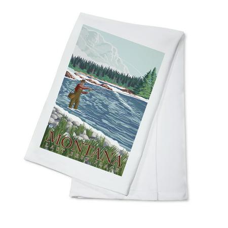 Montana, Last Best Place - Fisherman - Lantern Press Original Poster (100% Cotton Kitchen (Best Places For Tea In London)