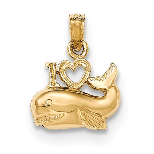 14K Yellow Gold Polished I Heart Whale Pendant