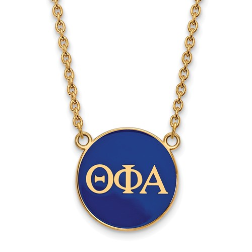 Sterling Silver w/ 14K Yellow Gold-Plated LogoArt 18in Official Licensed Greek Sororities Theta Phi Alpha (???) Small Enamel Pendant w/Necklace