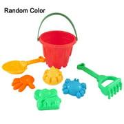7pcs Beach Toy Sand Plaything Plastic Bucket Spade Shovel Rake Kids Children Tools Color Random