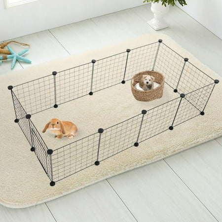 HURRISE Multi-functional DIY Small and Medium Pet Fence, Small Pet Playpen, Metal Wire Apartment-style Two-storey Animal Fence and Kennel (Wife Animals)