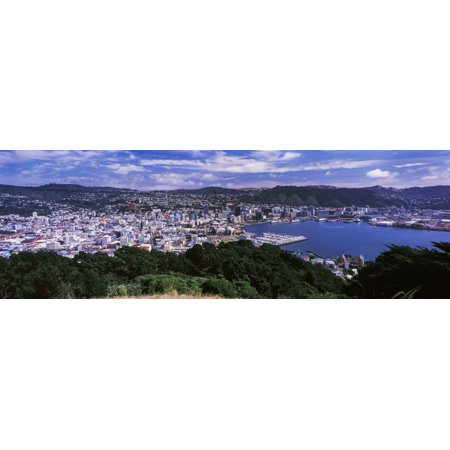 High angle view of city on the coast City of Wellington North Island New Zealand Poster Print (8 x 10) - Party City Wellington