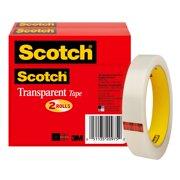 Scotch Transparent Tape, 3/4 in. x 2592 in., 2 Rolls