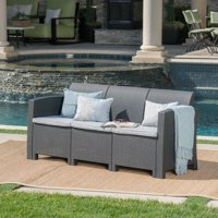 St. Pete Outdoor 3 Seater Wicker Rattan Style Sofa with Weather Resistant Cushions, Charcoal and Light Grey
