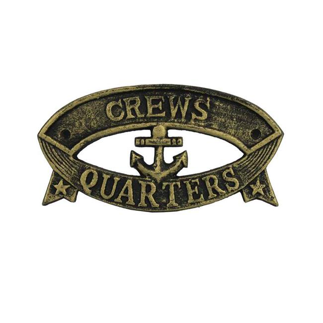 Handcrafted Model Ships k-49005B-gold 9 in. Cast Iron Crews Quarters Sign - Antique Gold