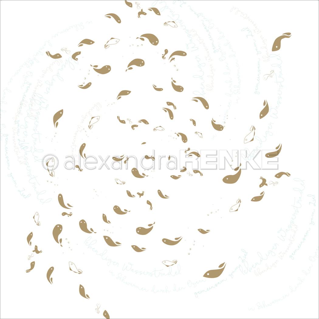 "Alexandra Renke Under The Water Design Paper 12""X12""-Fish Swirl Gold"