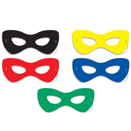 "Club Pack of 120 Halloween and Party Solid Color Hero Face Eye Masks 7"" for $<!---->"