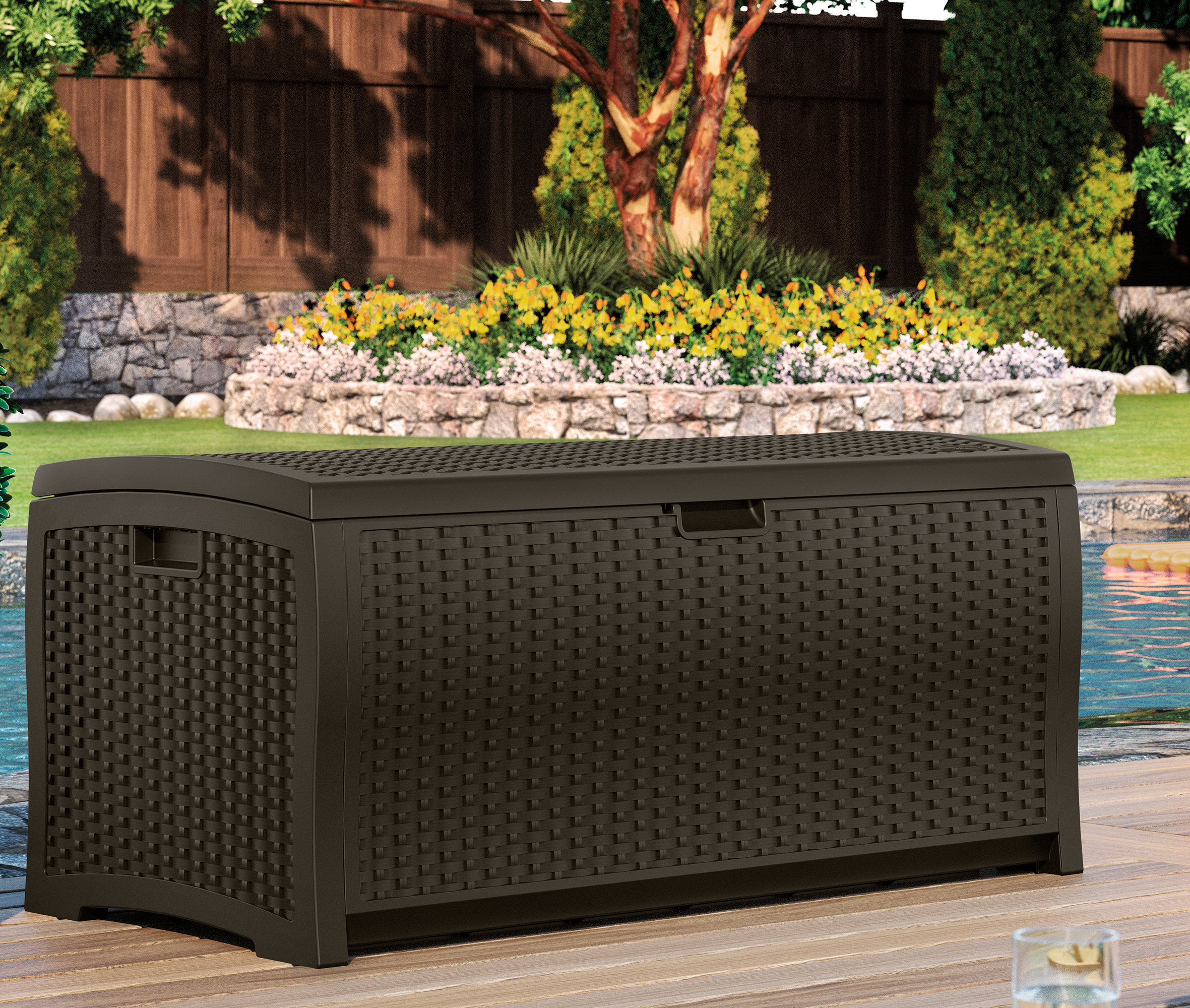 Suncast 73 Gallon Java Resin Wicker Deck Box DBW7300 by Suncast