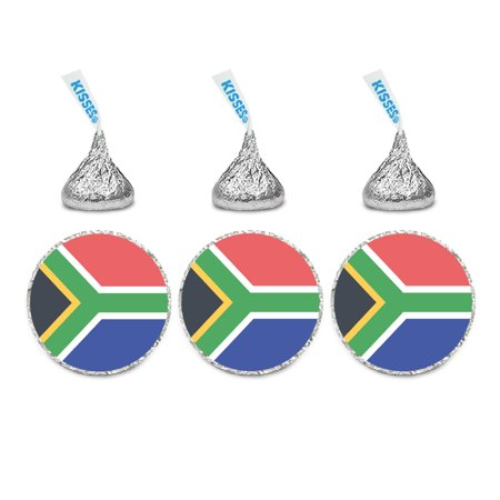 Global World Flag Party Collection, Chocolate Drop Label Stickers, South Africa, 216-Pack